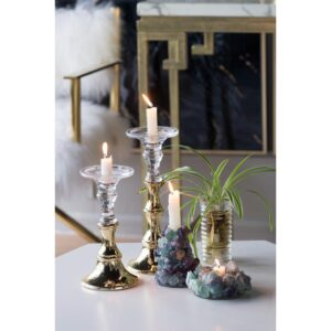 A & B Home Camden Clear, Gold Glass Candle Holder