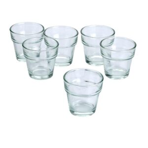 Light In The Dark Clear Glass Flower Pot Votive Candle Holders (Set of 36)
