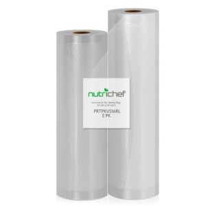 NutriChef White Vacuum Sealer Bags - Universal Air Vac Sealing Bags (2-Rolls, 100 ft. Total Length)