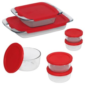 Pyrex Bake N Store 14-Piece Glass Bakeware and Storage Set with Red Lids