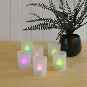 LUMABASE Flameless Votive Candles 2.25 in. Color Changing Plastic Frosted Holders (6-Count)