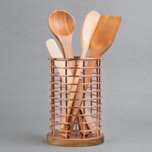 Creative Home Deluxe Acacia Copper Wood and Iron Wire Utensil Tool Holder Crock