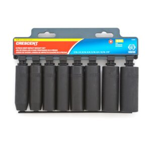 Crescent 1/2 in. Drive 6 Point Deep Impact SAE Socket Set (8-Piece)