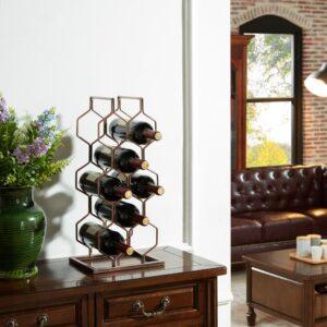 DANYA B Copper Electroplated 8-Bottle Wine Rack