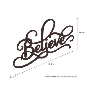 "Lavish Home ""Believe"" Metal Cutout Sign"