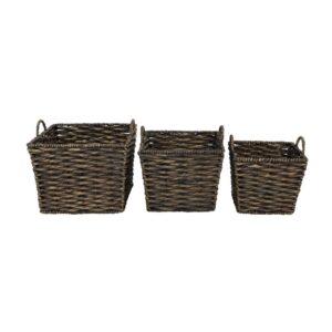 LITTON LANE Large Square Water Hyacinth Wicker Dark Brown Storage Baskets (Set of 3)