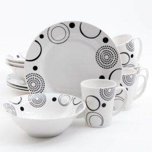 Gibson Home 12-Piece Mid-century Decorated with Black Geometric Design on White Porcelain Dinnerware Set (Service for 4)