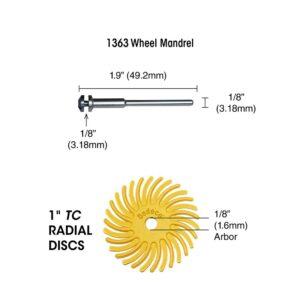 Dedeco Sunburst 1 in. Radial Discs - 1/8 in. 80-Grit Coarse Arbor Rotary Cleaning and Polishing Tool (12-Pack)