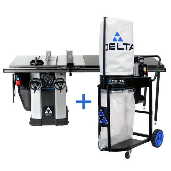 Delta 3 HP Left Tilt Unisaw Table Saw with 52 in. Biesemeyer Fence System and FREE 1.0 HP Dust Collection System