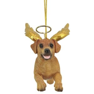 Design Toscano 3 in. Honor the Pooch Golden Retriever Holiday Dog Angel Ornament