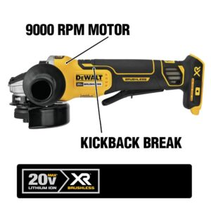 DEWALT 20-Volt MAX XR Cordless Brushless 4-1/2 in. Paddle Switch Small Angle Grinder with (1) 20-Volt 3.0Ah Battery & Charger