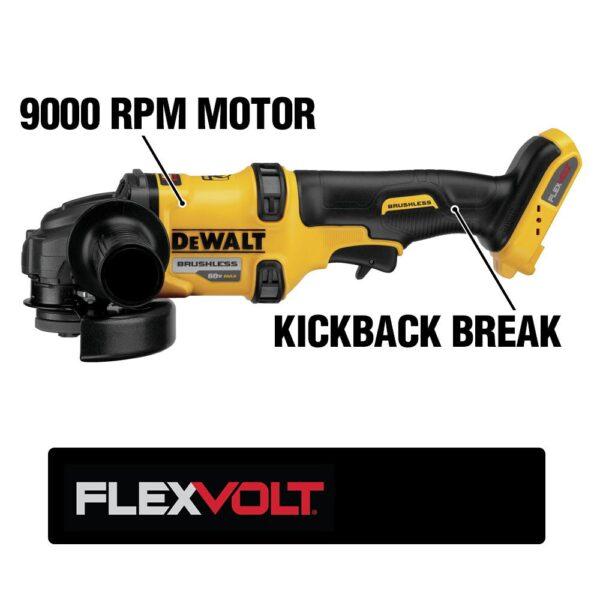 DEWALT FLEXVOLT 60-Volt MAX Cordless Brushless 4-1/2 in. Angle Grinder with Kickback Brake & (2) FLEXVOLT 6.0Ah Batteries