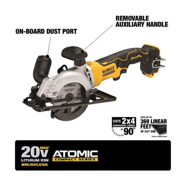 DEWALT ATOMIC 20-Volt MAX Cordless Brushless 4-1/2 in. Circular Saw (Tool-Only)