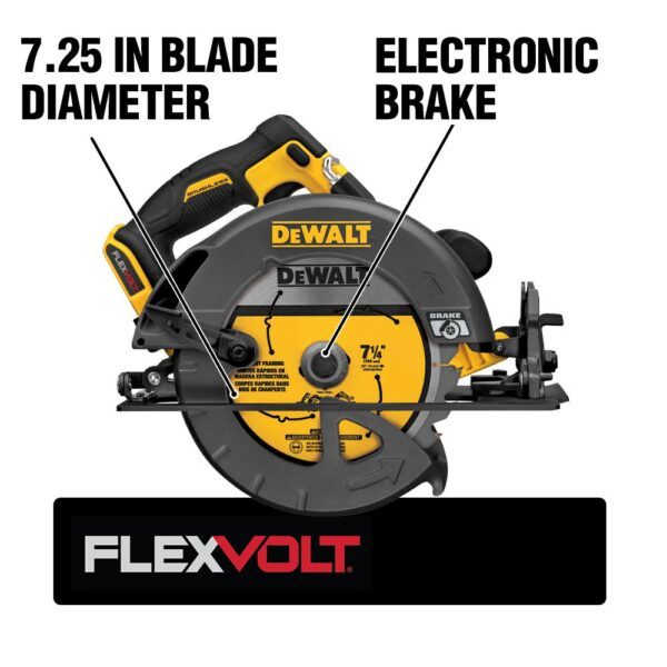 DEWALT FLEXVOLT 60-Volt MAX Cordless Brushless 7-1/4 in. Circular Saw, (1) FLEXVOLT 6.0Ah & (1) FLEXVOLT 9.0Ah Battery