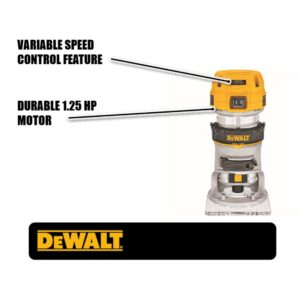DEWALT 7 Amp Corded 1-1/4 HP Max Torque Variable Speed Compact Router with LEDs