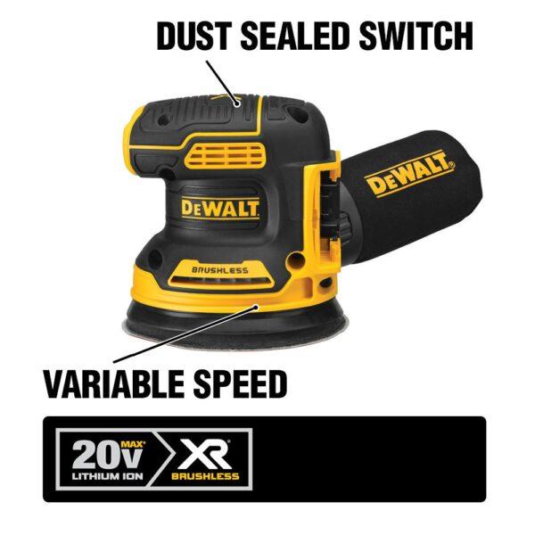 DEWALT 20-Volt MAX XRCordless Brushless 5 in. Random Orbital Sander with (1) 20-Volt Battery 2.0Ah & Jigsaw