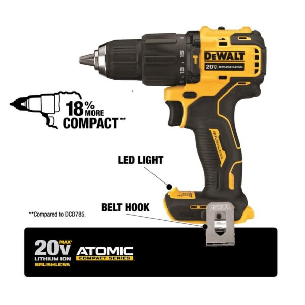 DEWALT ATOMIC 20-Volt MAX Cordless Brushless Compact 1/2 in. Hammer Drill, (1) 20-Volt 4.0Ah Battery & Charger