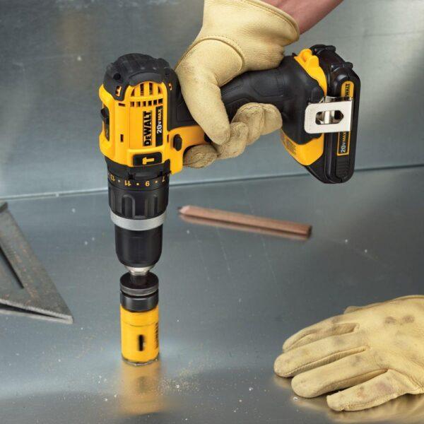 DEWALT 20-Volt MAX Cordless Compact 1/2 in. Hammer Drill/Driver, (2) 20-Volt 1.3Ah Batteries, Charger, Bag & Cross Line Laser