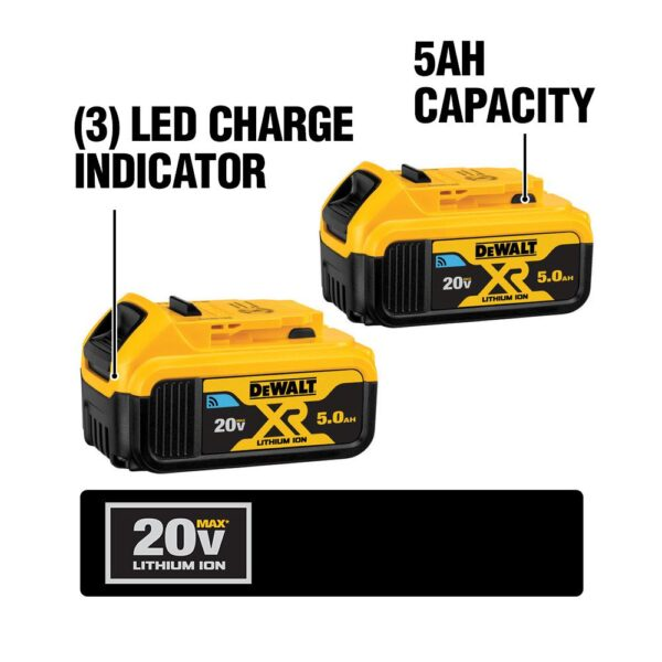 DEWALT 20-Volt MAX XR with Tool Connect Cordless Brushless 1/2 in. Hammer Drill/Driver (2) 20-Volt 5.0Ah Batteries & Charger
