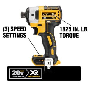 DEWALT 20-Volt MAX XR Cordless Brushless 3-Speed 1/4 in. Impact Driver with (1) 20-Volt 3.0Ah Battery & Charger