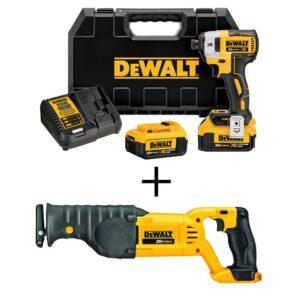 DEWALT 20-Volt MAX XR Cordless Brushless 1/4 in. Cordless Impact Driver w/ Bonus 20-Volt Reciprocating Saw (Tool-Only)