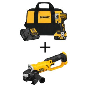 DEWALT 20-Volt MAX XR Cordless Brushless 3-Speed 1/4 in. Impact Driver with (1) 20-Volt 5.0Ah Battery & 4-1/2 in. Grinder
