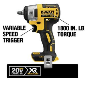 DEWALT 20-Volt MAX XR Cordless Brushless 3/8 in. Compact Impact Wrench with (2) 20-Volt 5.0Ah Batteries & Charger