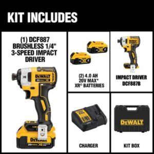 DEWALT 20-Volt MAX Cordless 1/2 in. Impact Wrench Kit with Detent Pin, (2) 20-Volt 4.0Ah Batteries & 1/4 in. Impact Driver