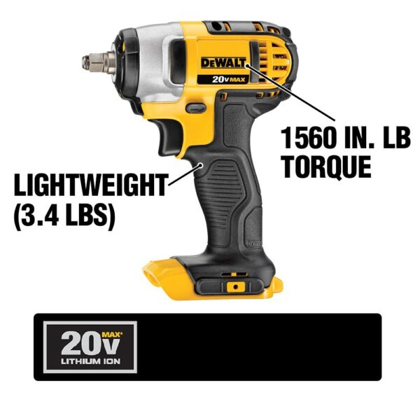 DEWALT 20-Volt MAX Cordless 3/8 in. Impact Wrench Kit with Hog Ring, (2) 20-Volt 4.0Ah Batteries & Charger