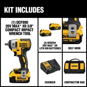DEWALT 20-Volt MAX XR Cordless Brushless 3/8 in. Compact Impact Wrench with (2) 20-Volt 4.0Ah Batteries & Charger