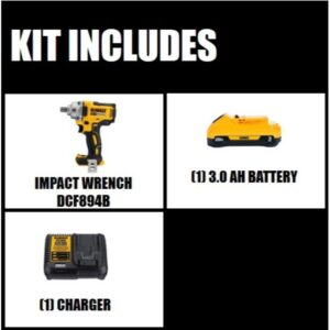 DEWALT 20-Volt MAX XR Cordless Brushless 1/2 in. Mid-Range Impact Wrench with Detent Pin Anvil, (1) 20-Volt 3.0Ah Battery