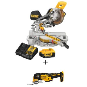 DEWALT 20-Volt MAX Cordless 7-1/4 in. Sliding Miter Saw with (1) 20-Volt Battery 4.0Ah & Oscillating Tool