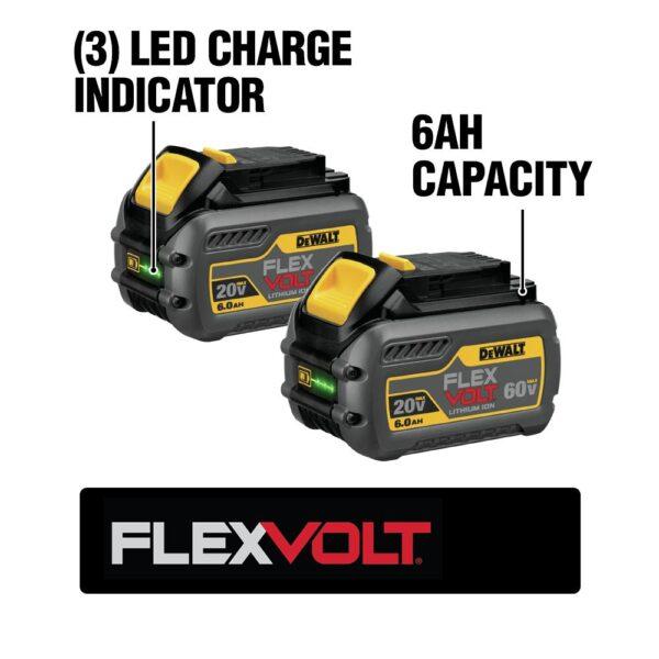 DEWALT FLEXVOLT 120-Volt MAX Cordless Brushless 12 in. Miter Saw with AC Adapter with (2) FLEXVOLT 6.0Ah Batteries