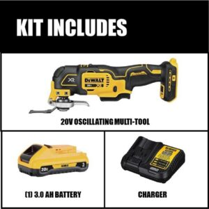 DEWALT 20-Volt MAX XR Cordless Brushless 3-Speed Oscillating Multi-Tool with (1) 20-Volt 3.0Ah Battery & Charger
