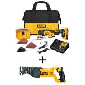 DEWALT 20-Volt MAX XR Cordless Brushless 3-Speed Oscillating Multi-Tool with (1) 20-Volt 2.0Ah Battery & Reciprocating Saw