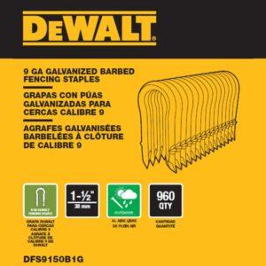 DEWALT 1.5 in. x 9-Gauge Galvanized Barbed Paper Tape Fencing Staples (960 per Box)