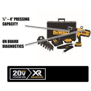 DEWALT 20-Volt MAX Cordless Press Tool, (6) Press Jaws, (2) 20-Volt 4.0Ah Batteries, Drain Snake & Threaded Rod Cutter
