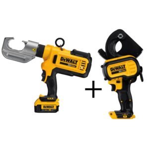 DEWALT 20-Volt MAX Cordless Died Cable Crimping Tool with (2) 20-Volt 4.0Ah Batteries, Charger, Case & Cable Cutting Tool