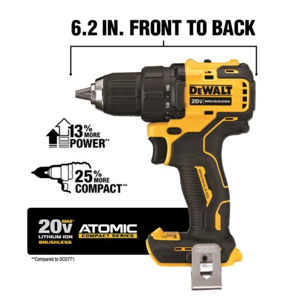 DEWALT ATOMIC 20-Volt MAX Cordless Brushless Compact 1/2 in. Drill/Driver, (2) 20-Volt 1.3Ah Batteries & 6-1/2 in. Circular Saw