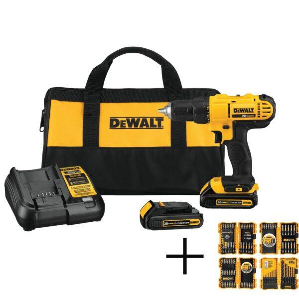 DEWALT 20-Volt MAX Cordless 1/2 in. Drill/Driver, (2) 20-Volt 1.3Ah Batteries & Max Fit Screwdriving Set (140-Piece)