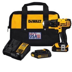 DEWALT 20-Volt MAX Cordless Compact 1/2 in. Drill/Drill Driver with (2) 20-Volt 1.3Ah Batteries, Charger & Bag
