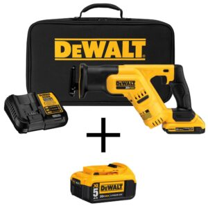 DEWALT 20-Volt MAX Cordless Compact Reciprocating Saw with (1) 20-Volt Battery 2.0Ah, (1) 20-Volt Battery 5.0Ah & Charger
