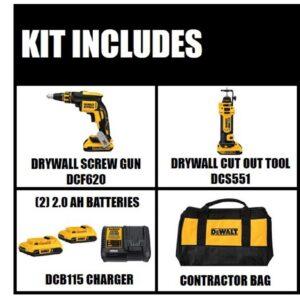 DEWALT 20-Volt MAX XR Cordless Drywall Screw Gun/Cut-out Tool Combo Kit (2-Tool) with (2) 20-Volt 2.0Ah Batteries & Charger