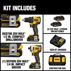 DEWALT ATOMIC 20-Volt MAX Cordless Brushless Compact Drill/Impact Combo Kit (2-Tool) with (2) 1.3Ah Batteries, Charger & Bag
