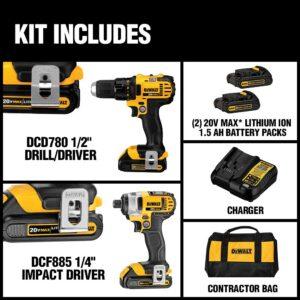 DEWALT 20-Volt MAX Cordless Drill/Impact Combo Kit (2-Tool) with (2) 20-Volt 1.5Ah Batteries, Charger & Bag