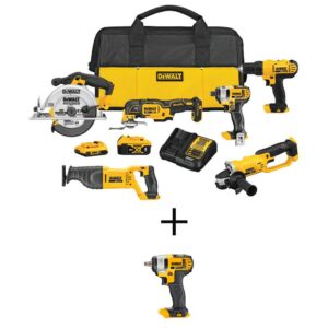 DEWALT 20-Volt MAX Cordless Combo Kit (6-Tool) with (1) 20-Volt 4.0Ah Battery, (1) 2.0Ah Battery & 3/8 in. Impact Wrench