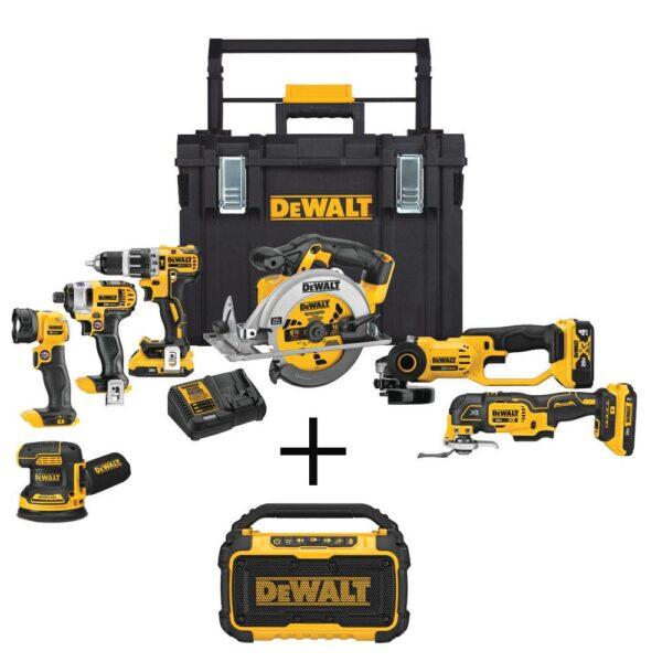 DEWALT 20-Volt MAX Cordless Combo Kit (7-Tool) with ToughSystem Case, (1) 4.0Ah Battery, (2) 2.0Ah Batteries & Speaker