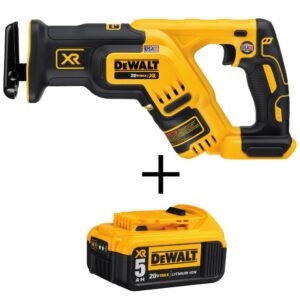 DEWALT 20-Volt MAX XR Cordless Brushless Compact Reciprocating Saw with (1) 20-Volt Battery 5.0Ah