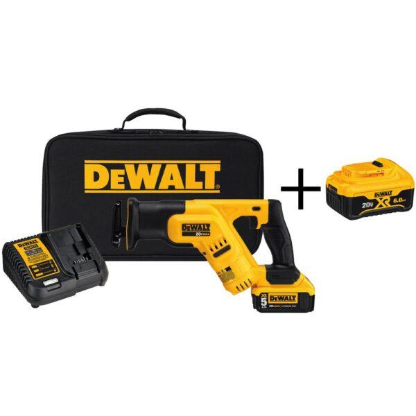 DEWALT 20-Volt MAX Cordless Compact Reciprocating Saw with (1) 20-Volt Battery 5.0Ah & (1) 20-Volt Battery 6.0Ah