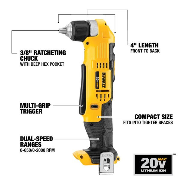 DEWALT 20-Volt MAX Cordless 3/8 in. Right Angle Drill/Driver (Tool-Only)